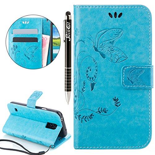 SainCat Ledertasche Brieftasche im BookStyle PU Leder Hülle Wallet Case Folio Schutzhülle Bumper Handytasche Flip Cover Etui Case für Samsung Galaxy S5 Mini -