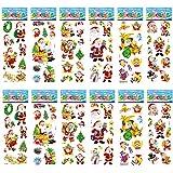 BETOY Autocollants de Noël pour Enfants, 12 Feuilles NoëL Décoration Stickers Bulles Autocollants de Santa Bonhomme de Neige Renne Arbre Flocons de Neige