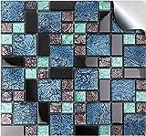 24 stück Fliesenaufkleber für Küche und Bad (Tile Style Decals 24xTP 71 -6in- Mosaic Glass) | Mosaik Wandfliese Aufkleber für 15x15cm Fliesen | Fliesen-Aufkleber Folie Farbe - Mitternachtsblau | Deko-Fliesenfolie für Küche u. Bad (15cm - 24 stück, Mosaik-Glas)