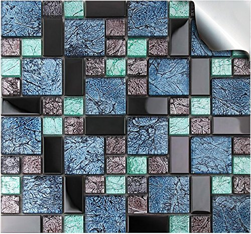 24 Printed in 2d Kitchen Bathroom Tile STICKERS For 150mm (6 inch) Square Tiles –(24 Mosaic Glass - TP 71)- Directly From TILE STYLE DECALS, No Middleman