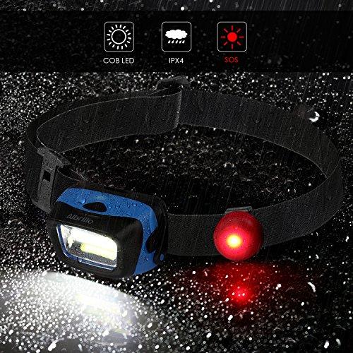 Albrillo Super Helle LED Stirnlampe, 90°Einstellbarer LED Kopflampe mit 5 Lichtmodi und Rotlicht, Ideal für Camping, Joggen und Lesen