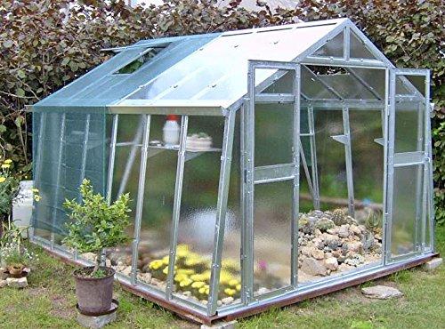 floristikvergleich.de Gewächshaus mit Glas unschlagbar stabil 2,76 x 3,06 m, Konstruktion Metall verzinkt