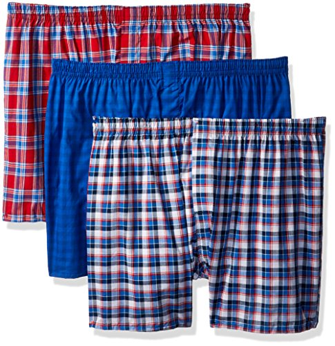 Hanes Men's 3-Pack ComfortBlend Woven Boxers with FreshIQ, Assorted, XX-Large - Hanes Herren Woven Boxer