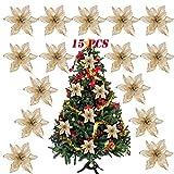 SERWOO (Dia. 15cm) 15pz Fiore Artificiale Natale per Albero Oro Finti Natalizi Decorazione Addobbi Ornamenti Natalizie