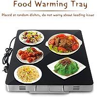 TRUSTME Chauffe-plat électrique en acier inoxydable pour chauffe-plat à température constante 80 °C Noir