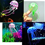Aquamarine Glowing Artificial Jellyfish Aquarium Lucency Jelly Fish Tank Decoration Ornament Creative Aquarium Accessories 1 Piece Color May Vary