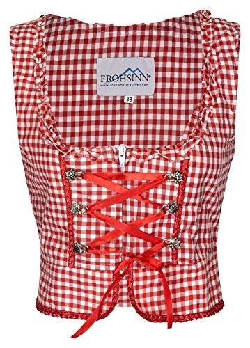 FROHSINN - Damen Trachtenmieder oder Dirndlbluse rot/blau kariert - Trachten Mode (38, Mieder rot)