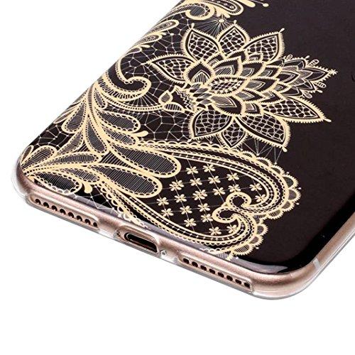 iPhone 7 Plus Hülle Marmor, iPhone 8 Plus Case Rosa Schleife Ultra Dünn Slim Silikon Backcover mit Bunte Marmor Muster Bumper Schale Schutzhülle Handyhülle für iPhone 7 Plus / 8 Plus Gold Blume