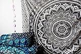 Rawyal Wandteppich, Tagesdecke, ombriert, schwarz, grau, mit indischem Mandala-Motiv, Wandschmuck zum Aufhängen, Hippie-Stil
