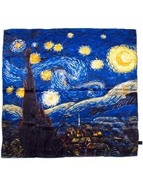 Prettystern - 90cm 100% pañuelo de seda de la pintura del arte de la impresión - Van Gogh - Melocotón en el flor...