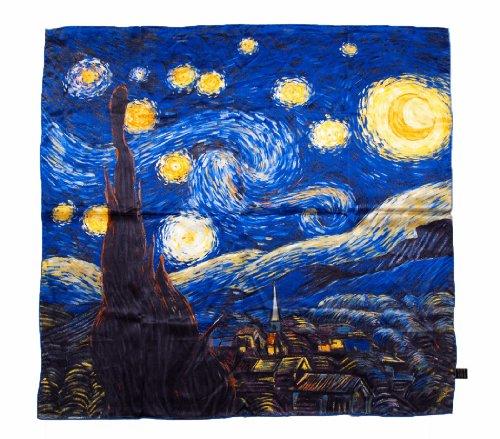 Prettystern p884-90cm pittura incorniciatura al 100% seta - van gogh - starry night - notte stellata