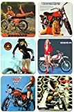 Siebziger- Girls & ihre Motorräder Untersetzer 6er Set Motorrad -Klassiker der 70er Jahre Bike