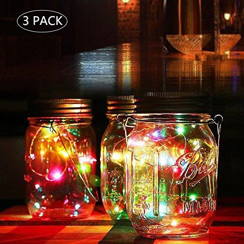 Solar Mason Jar Lichter, warm Jar Fairy Lampe mit wasserdicht Mason Jar Deckel, outdoor Dekorative Laterne Beleuchtung für Garten Terrasse Weg Baum Urlaub Hochzeit Party Deco (Mehrfarbig-3pcs)