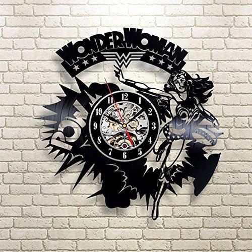 Lozse Frage Mich, Frau Superhelden Superhelden 3D schwarzes Vinyl Record Uhr Kreative Personalisierte Hohle Wand Uhr Retro-Art(Größe: 12 Zoll, Farbe: Schwarz)
