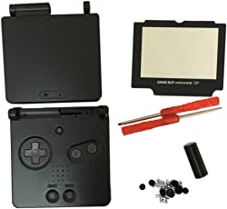 Meijunter Replacement Housing Shell Case Cover Pack Repair Part w/Screen Lens & Screwdrivers Tool for Nintendo Gameboy Advance SP GBA SP Console (Black)