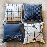 Folkulture - 4 Fundas de cojín para sofá, fundas de algodón de 45,7 x 45,7 cm, en color añil