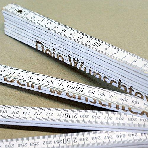 Holz-Gliedermaßstab / Zollstock WEISS mit Lasergravur (3 Meter, einseitig beschriftet)