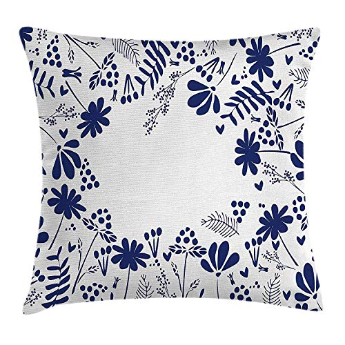 Ntpclsuits Navy Pillow case Botanical Beauty Flower Branches -