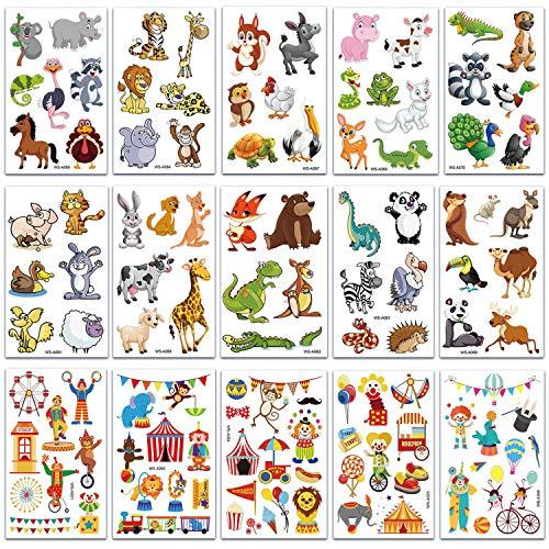 SZSMART Animales Tatuajes Temporales para Niños Tatuajes de Circo Tatuajes de Animales...