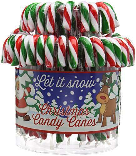 60 GREEN RED CHRISTMAS X'MAS CANDY CANES (20g each, 14cm length)