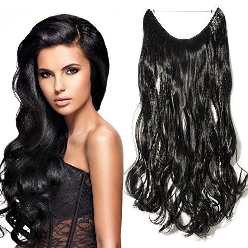 Elailite extension capelli ricci mossi a filo trasparente fascia unica wire invisibile lunghi 50cm pesano 115g 3/4 full head colore nero