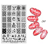 Nail Stamping Plaque Noel Ongle Pochoir Feuille (D)