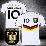ElevenSports Deutschland Trikot 2018 mit GRATIS Wunschname + Nummer im EM WM Weiss Typ #DV - Geschenke für Kinder Erw. Jungen Baby Fußball T-Shirt Bedrucken