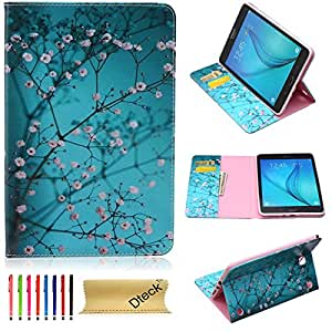 Tab A 8.0 Case, Dteck(TM) Ultra Slim Lightweight PU Leather Smart Shell Case [Card & Money Slots] Stand Protective Wallet Cover for Samsung Galaxy Tab A 8.0 inches SM-T350 (05 Pear Flower)