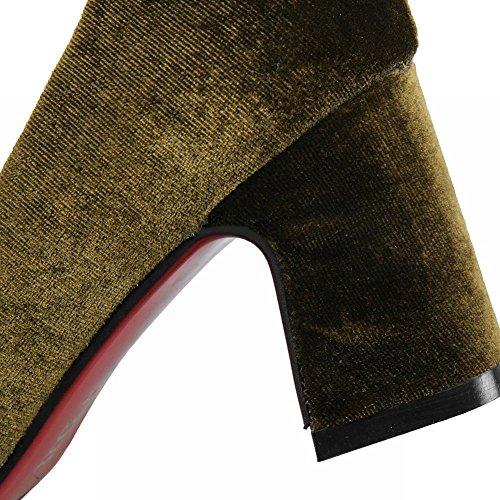 MissSaSa Donna Scarpe col Tacco Ciccia Alto Vintage e Elegante Verde scuro