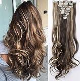 S-noilite 24' (60 cm) extensiones de cabello cabeza completa clip en extensiones de pelo Ombre ondulado rizado - Marrón oscuro & ceniza rubia