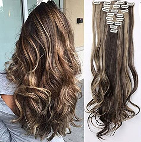 S-noilite® Teile Set Clip in Extensions 60cm Haarverlängerung Haarteil gewellt Dunkelbraun & Graublond