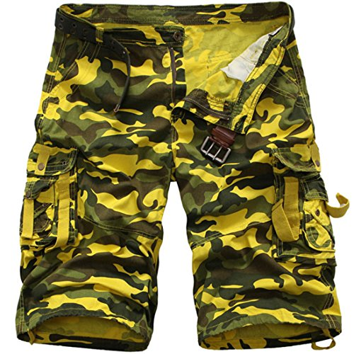 Men's Military Loose Cargo Denim Multi Pocket Beach Shorts G423 lianghuangmicai