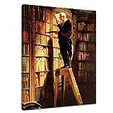 Bilderdepot24 Kunstdruck - Alte Meister - Carl Spitzweg - der Bücherwurm - 60x80cm Einteilig - Leinwandbilder - Bilder als Leinwanddruck - Bild auf Leinwand - Wandbild