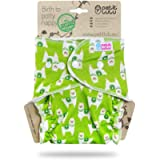 Petit Lulu Bamboo Fitted Maxi-Night Diaper | Snaps | Fluffy Organic | Reusable & Washable | Made in Europe (Alpacas)