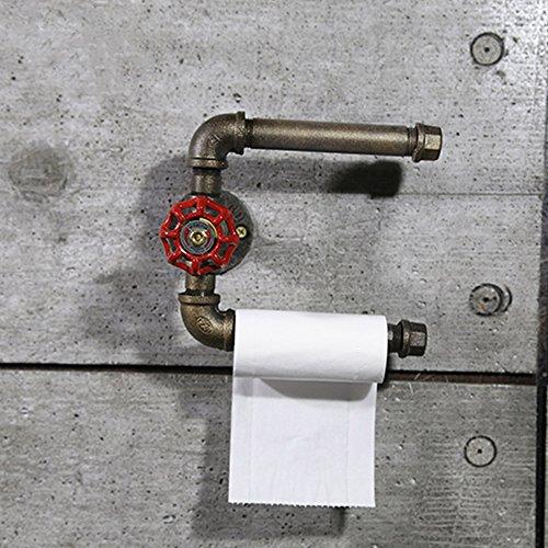 Shelfhx Industrial Retro Hierro Negro Titular de Papel Higiénico Steampunk Metal Tubería de Agua Portarrollos Accesorios de Baño Cocina del Hotel Baño Dispensador de Toallas de Papel Estante Montado En La Pared