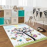carpet city Kinder Teppich für Das Kinderzimmer Öko Tex 100 2070 Lustiger Baum mit Tieren 160x225 cm