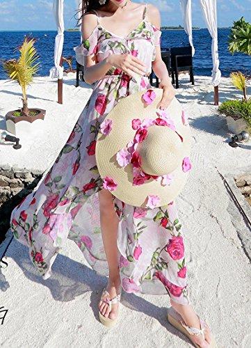 Bigood Robe Fendue Femme Fée Robes Longue Plage Voyage Bohème Fleur Multicolore