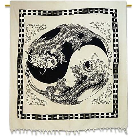 Handicrunch cotone Wall Hanging drago Stampa Tapestry decorazione della parete di dimensione doppia lenzuolo 90