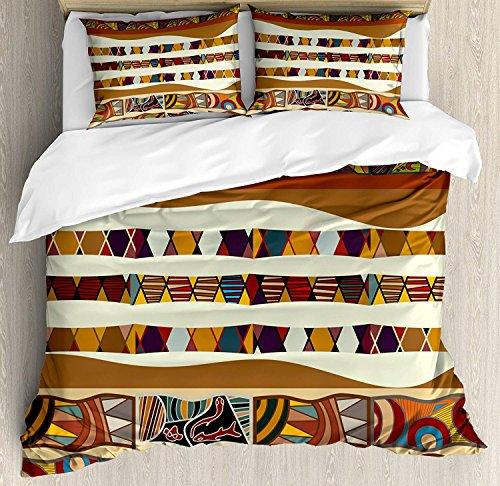 Stammes-3-teiliges Bettwäscheset Bettbezug-Set, traditionelles afrikanisches Volk mit kulturellen Highlights Trippy Icons Boho abstraktes Design, 3-tlg. Tröster- / Qulitbezug-Set mit 2 Kissenbezügen, -