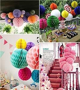 SwirlColor 12 pezzi di fiore elegante Palla a nido d'ape, Pull sfera del fiore per la cerimonia nuziale del partito di promenade decorazione esterna