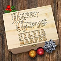TWISTED ENVY Vintage Merry Christmas Personalised Wooden Christmas Eve Box
