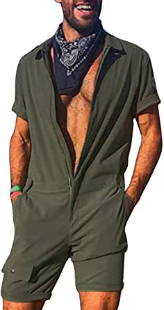 Men's One Piece Rompers Casual Zipper Short Tracksuits Coverall Playsuits with Pockets