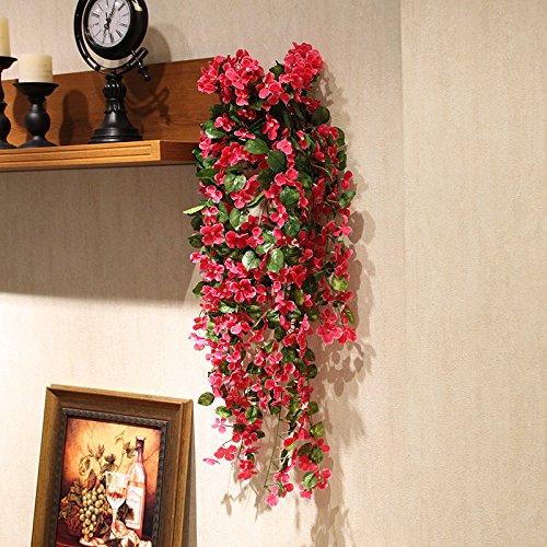 Lx.AZ.Kx Künstliche Blumen Blume Emulation Rattan-möbeln Kugel des Kuckucks Wandhalterung Silk Flower Vines Home Einrichtung und die Wände sind mit Flowersc)