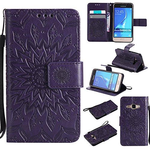 Cozy Hut Coque Samsung Galaxy J1 2016,Housse Étui Coque de Protection PU Cuir Ultra Slim à Rabat Flip Cover Support Magnétique Adsorption Porte-Carte Étui Samsung Galaxy J1 2016 - Violet