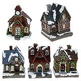 ToCi villaggio natalizio decorativo con 5 casette e illuminazione