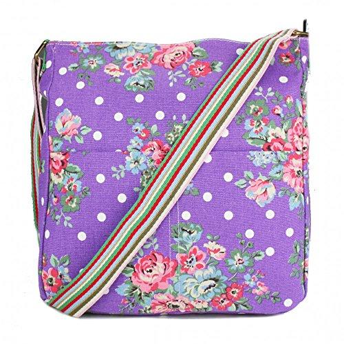 Miss Lulu borsa messenger a tracolla Back to School bag DOT stampa floreale Purple Con La Venta En Línea Mastercard Compra Salida Precio Barato En Italia Venta Precio Increíble En Línea 7Mw3IOM0n