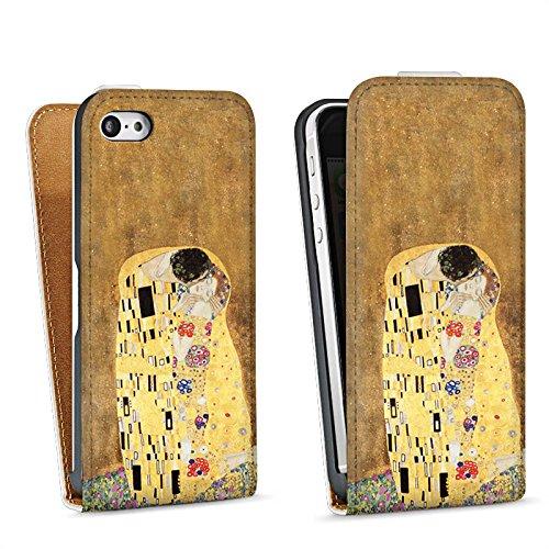 Apple iPhone 5 Housse Étui Silicone Coque Protection Klimt Le Baiser Art Sac Downflip blanc