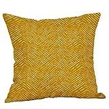 wuayi Jaune Moutarde Geometric Fall Automne Coton Lin carré Couvre-lit décoratif Taies d'oreiller Housses de Coussin pour canapé Home Decor, Drap en Coton, G1:45x45cm, 45 x 45 cm