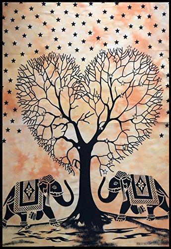 BellaMira 100% algodón tapiz de pared de arte tapiz - Árbol de la vida Elefante Ganesha Motif - Cubierta de tabla estera de yoga póster 30 'x 40'