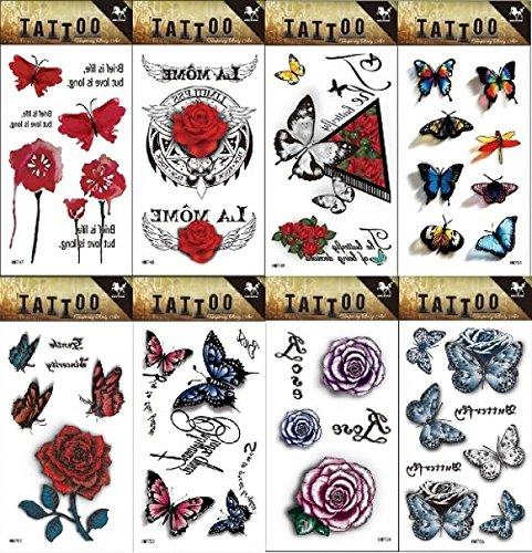 8pcs diversi durevoli e realistico temp tatuaggio di design in 1pacchetto, tra cui rose, fiori e farfalle tattoo sticker